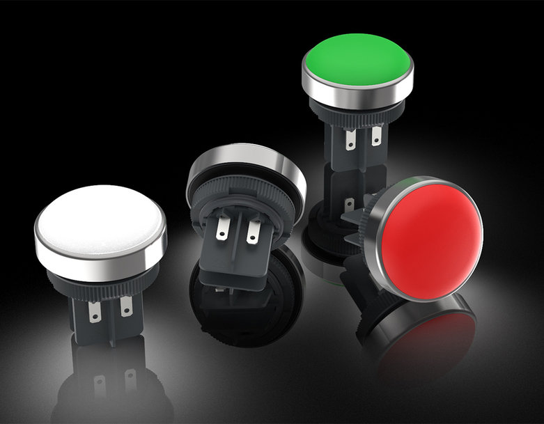 Rugged signal lamp with stainless steel collar and red/green LED